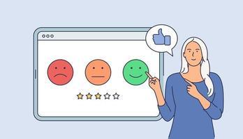 conceito de negócio de pesquisa de cliente. jovem feliz sorridente empresária personagem de desenho animado dando avaliação no tablet. ilustração vetorial plana. vetor