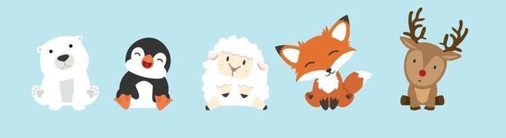 conjunto de coleta de desenhos animados de animais fofos vetor