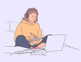 educação, estudo, conceito de aprendizagem. menina estudando na cama com laptop e livros. vetor