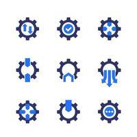 ícones de integração com engrenagens, vetor