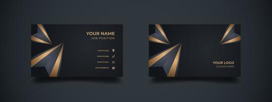 cartão de visita com forma poligonal 3d abstrata na cor dourada elegante. abstrato base de diamante com o banner escuro para corporativo ou empresa. Pronto para imprimir a ilustração vetorial. vetor