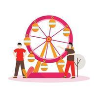 ilustração em vetor plana de pessoas tocando em um show de circo