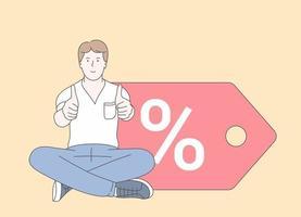 compras, compras, cliente, venda, conceito de desconto. jovem feliz com polegares para cima, vendas de desconto. vetor