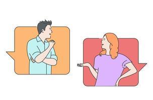 comunicação online, mídia social ou conceito de rede. homem, mulher casal conversando, mensagens usando aplicativo de bate-papo ou rede social. vetor