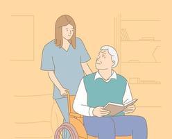 casa de repouso, hospital, hospício, conceito de reabilitação. enfermeira sorridente empurrando cadeira de rodas com homem sênior sorridente vetor