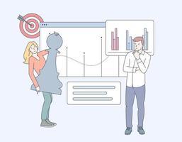 análise de negócios, estratégia e gestão de conteúdo. conceito de marketing digital. gerenciamento de mídia social, plataforma de microblog, metáforas de marketing de conteúdo vetor