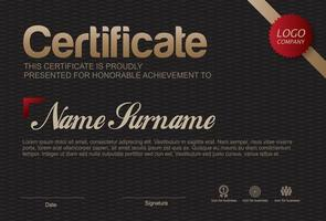 modelo de certificado de agradecimento, borda de certificado multiuso com design de crachá vetor