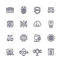 conjunto de ícones de servidores, rede e linha de hospedagem vetor
