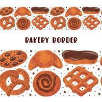 padaria seamless border boulangerie conjunto de elementos clipart pretzel croissant bagel roll eclair waffle cookies comida em aquarela vetor