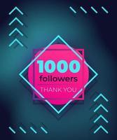1000 seguidores, obrigado, banner de vetor