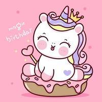desenho animado de pônei de princesa de vetor de unicórnio de aniversário segurando varinha mágica com fundo de animais kawaii cupcake