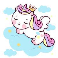Desenhos animados bonitos do sono da princesa do pônei do vetor do unicórnio pégaso na nuvem pastel sonho doce fundo dos animais kawaii