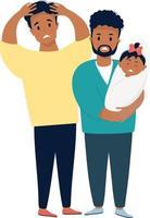casal masculino étnico com um bebê. dois homens tristes e assustados estão segurando um recém-nascido que chora. vetor. Família LGBT com filha recém-nascida, situação estressante. conceito de vida familiar e emoções vetor