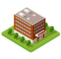 escola isométrica edifício estudo educação infraestrutura urbana para ilustração vetorial de design conceitual com casas e ruas. vetor
