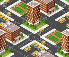escola isométrica edifício estudo educação infraestrutura urbana para ilustração de padrão de repetição perfeita de vetor de design conceitual com casas e ruas.