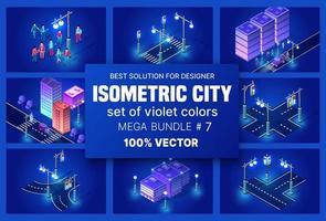 cidade isométrica ultravioleta definir cidade de distrito de bloco de módulo 3d com uma estrada de rua construindo um arranha-céu da infraestrutura urbana da arquitetura vetorial. ilustração moderna e brilhante para design de jogos vetor