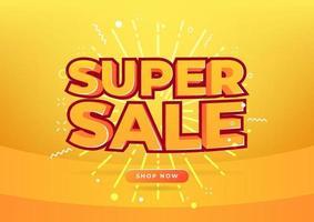 banner de marca de super venda para promoção. vetor