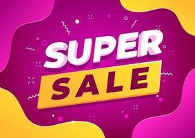 design de modelo de banner super venda, oferta especial de grande venda. vetor
