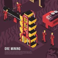 ilustração em vetor ilustração isométrica de processo de mineração de minério