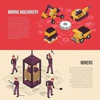 ilustração vetorial de mineração de carvão 2 banners horizontais vetor
