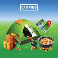 ilustração vetorial de cartaz colorido realista de acampamento vetor