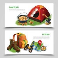ilustração vetorial conjunto de panfleto realista de acampamento vetor