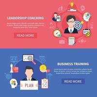conjunto de banners de coaching de negócios vetor