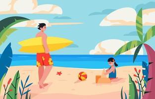 pessoas aproveitando as férias de verão na praia vetor