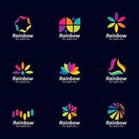 coleção de elementos do logotipo do arco-íris vetor