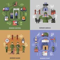 Conjunto de ícones 2x2 de guarda de fronteira vetor