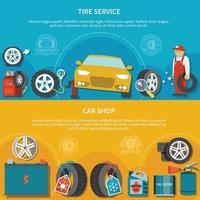 ilustração vetorial de banners de serviço de pneus vetor