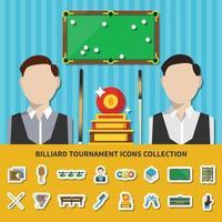 coleção de ícones de torneio de bilhar vetor