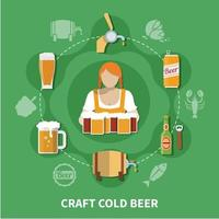 ilustração em vetor cerveja plana