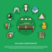 composição plana de campeonato de bilhar vetor