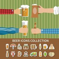 ilustração em vetor coleção de ícones de cerveja lisa