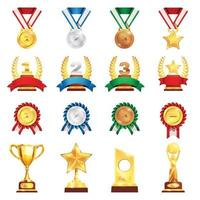 prêmio troféu medalha conjunto realista ilustração vetorial vetor