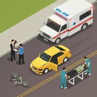 ilustração em vetor composição isométrica de cena de acidente de trânsito