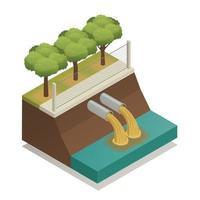 ilustração em vetor composição isométrica ecológica de tratamento de águas residuais