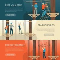 ilustração vetorial de banners horizontais de atividade de caminhada na corda vetor