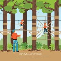 Ilustração em vetor fundo parque caminhada na corda