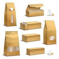 embalagens de chá de papel kraft com ilustração vetorial realista vetor