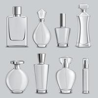 ilustração vetorial conjunto realista de frascos de vidro de perfume vetor