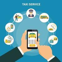 composição de aplicativo de táxi inteligente vetor