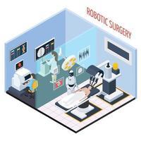 ilustração em vetor composição isométrica cirurgia robótica