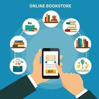 composição de livraria online vetor