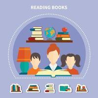composição de leitura educacional vetor