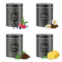 conjunto de latas de chá blak realistas vetor