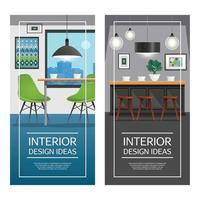 ilustração vetorial de banners verticais de design de interiores de cozinha vetor