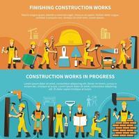 ilustração vetorial conjunto de panfleto de trabalhador da construção civil vetor