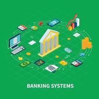 ilustração em vetor composição redonda do setor bancário